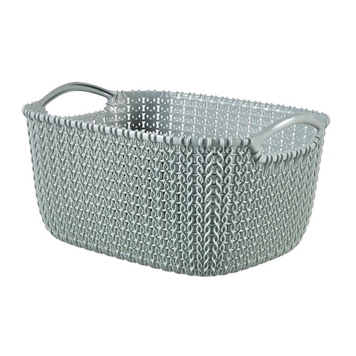 Curver Faux Rattan Knit Organiser - Small - Misty Blue