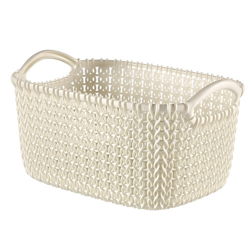 Curver Faux Rattan Knit Organiser - Small - Oasis White