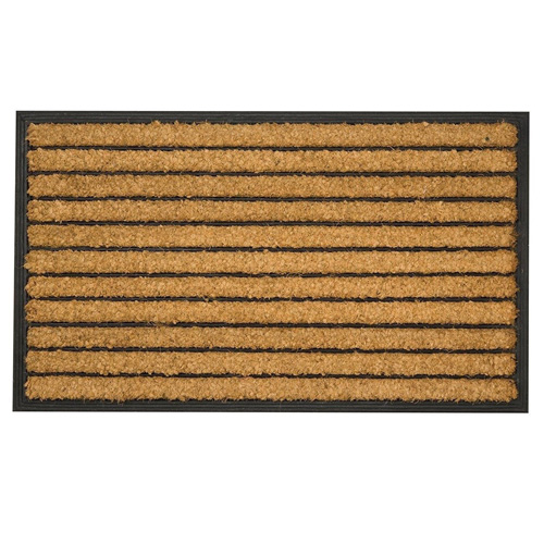 Tuffridge Striped Sturdy Coir and Rubber Doormat - 75 x 45cm