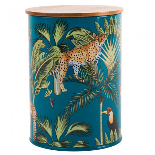 Navigate Summerhouse Storage Tin - Madagascar Cheetah with Bamboo Lid