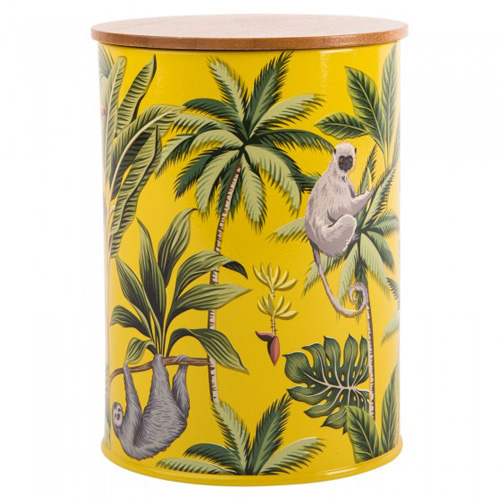 Navigate Summerhouse Storage Tin - Madagascar Sloth with Bamboo Lid