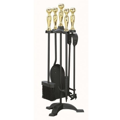 Manor 5 Piece Companion Set Black and Brass - 1066