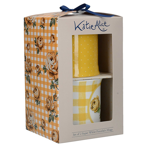 Katie Alice Mugs - Boxed Set of Two Vintage Rose - Tumeric