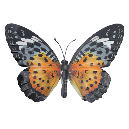 Primus Metal Butterfly Wall Plaque - Orange Black - Large