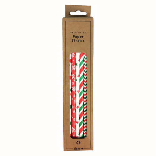 Dexam Christmas Paper Drinking Straws - Pack of 50