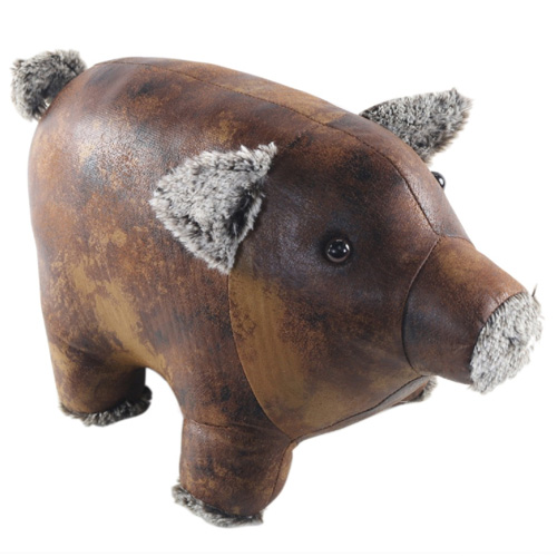 Faux Leather Pig Doorstop With Soft Ears Nose and Feet