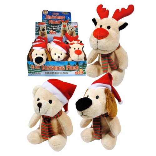 Christmas Plush Puppies - Assorted 13cm Stocking Fillers