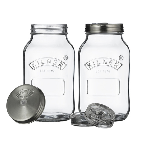 Kilner Glass Fermentation Jars - Set of 2 x 1 litre