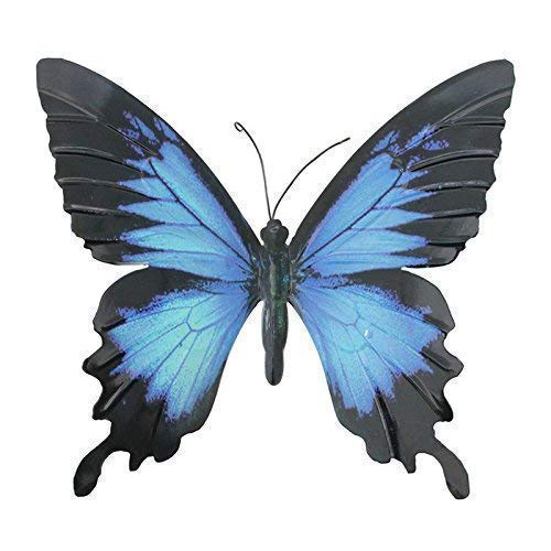 Primus Metal Butterfly Wall Plaque - Blue Black - Large