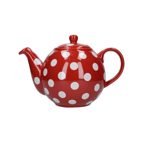London Pottery 4 Cup Globe Teapot - Red with White Spots