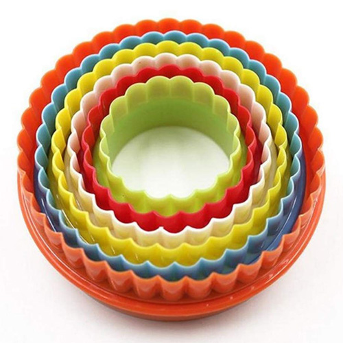 Apollo Round Biscuit Cutters - Set of 6 Multi Coloured Double Sided