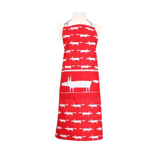 Dexam Scion Living Cotton Apron - Red Mr Fox - With Pocket