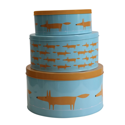 Dexam Scion Living Set of 3 Cake Storage Tins - Blue Mr Fox