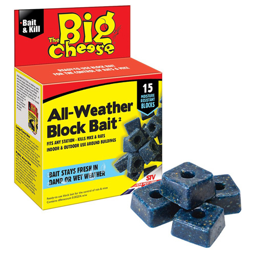 STV Big Cheese Rats and Mice All Weather Block Bait - 15 Blocks