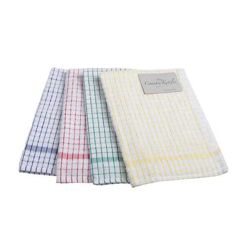 Stow Green Single Kitchen Tea Towel - Assorted Colours - Checks