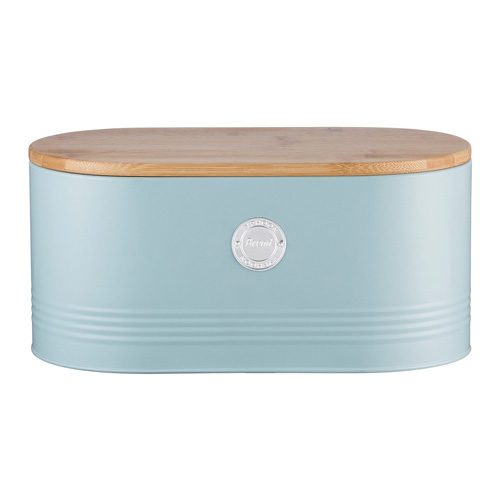 Typhoon Living Bread Bin - Blue with Bamboo Lid