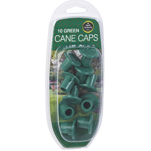 Worth Gardening Cane Caps - Pack of 10 Green