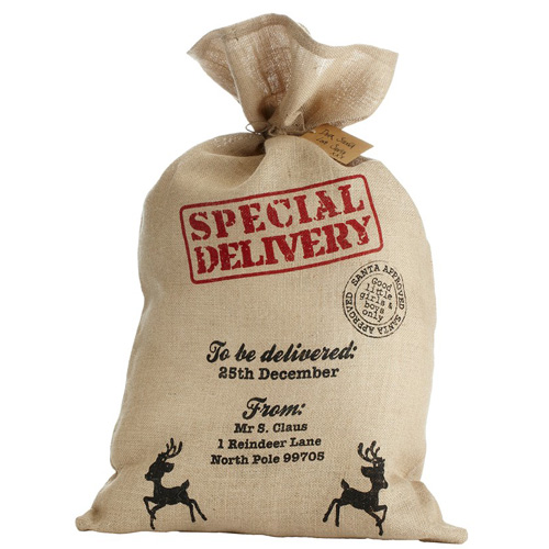 Christmas Sack - Hessian - Special Delivery From Mrs Claus 80x50cm